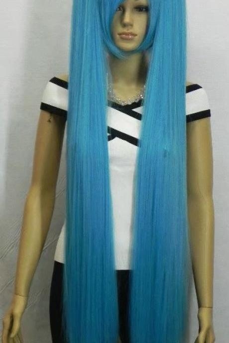 blue long women wig cosplay wig long wigs newly 2017 girl wig