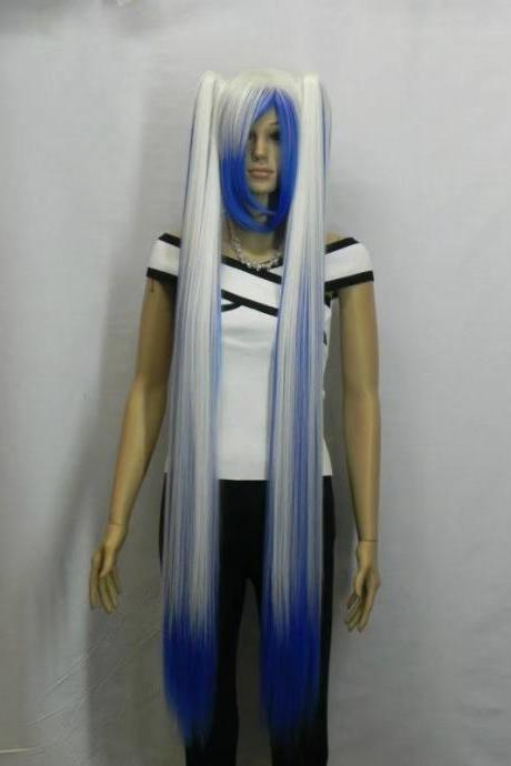 white blue long women wig cosplay wig long wigs newly 2017 girl wig