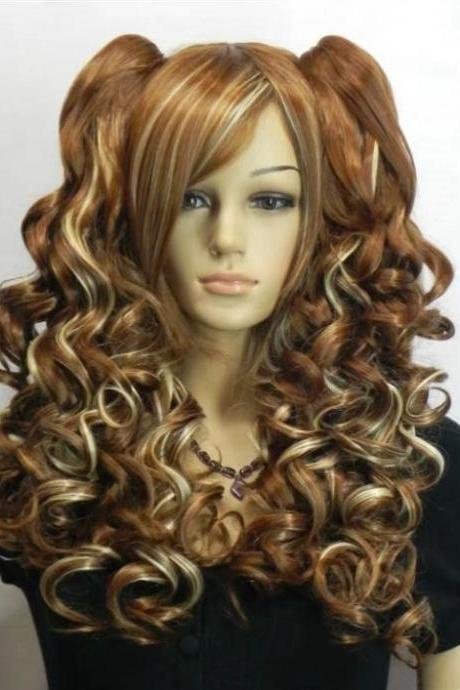 wave long women wig cosplay wig long wigs newly 2017 girl wig real photo wig Heat Resisitant Fiber wig brown wigs