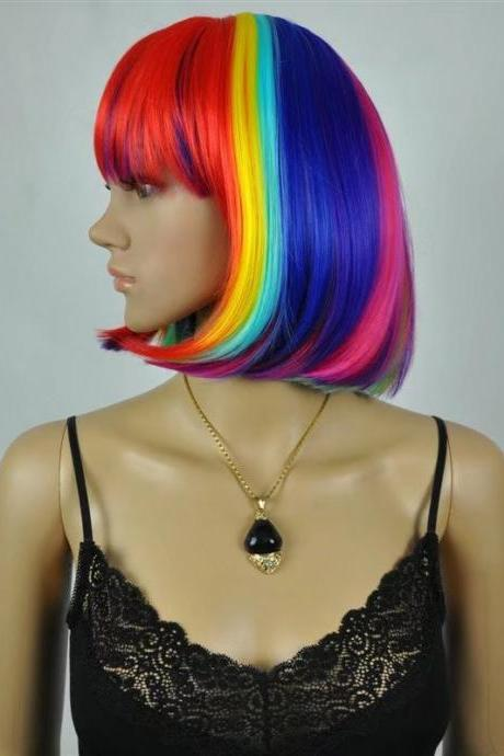 Rainbow Wig wigs women wigs synthetic wig