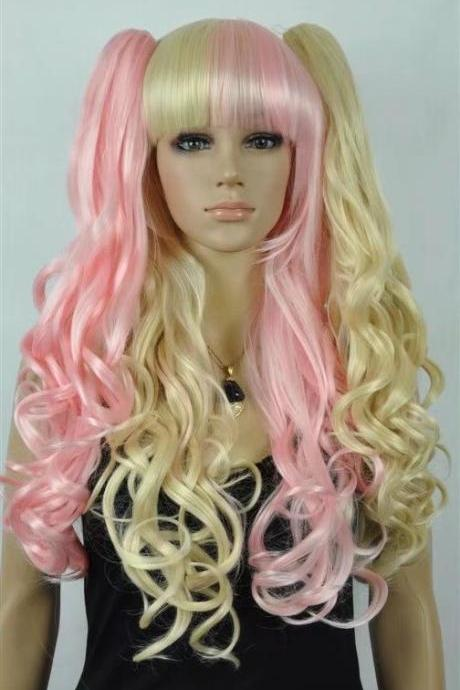 pink gold long Wig wigs women wigs synthetic wig