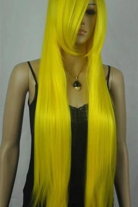 yellow cosplay long women wigs synthetic wig GZ#004