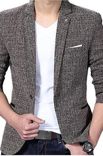 Mens Casual Linen Tweed One Button Lapel Blazers Jacket Coat COFFEE