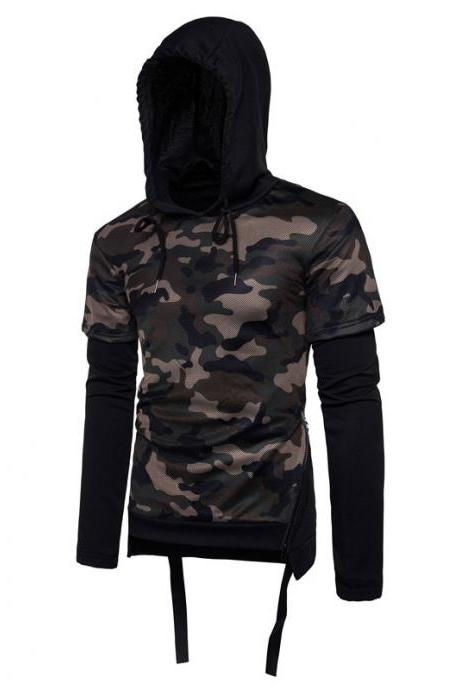 Fashion, fashion, camouflage, mosaic, false two, design, man, autumn and winter, personality, side zipper, sweater