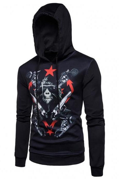 New fashion personality gorilla stamp hooded men's casual hoodies COAT BLACK