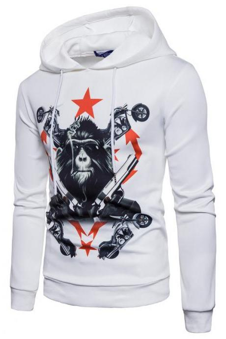 New fashion personality gorilla stamp hooded men's casual hoodies COAT WHITE